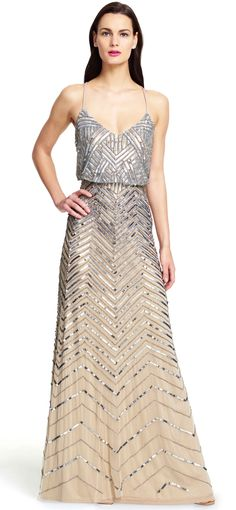 Chevron Beaded Blouson Gown - Adrianna Papell #bridesmaid #dress #wedding