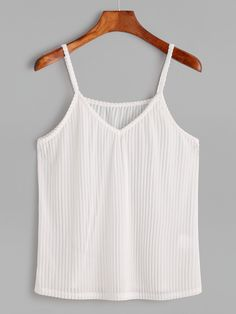 65f740065ae Shop White V Neck Striped Velvet Cami Top online. SheIn offers White V Neck  Striped