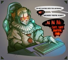 Es Pennywise, Pennywise The Dancing Clown, Horror Icons, Horror Films, Clowns, Scary, Video Games, Fan Art, Cartoon