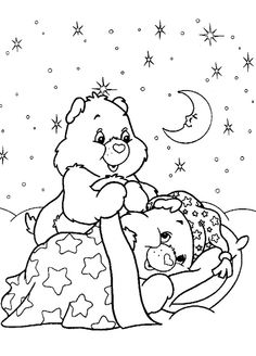 Care Bears In Bed Coloring Book Pages