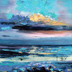 Florida Sunset Original Oil Painting Texture by PaletteKnifeArt