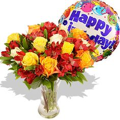 Birthday Surprise  Price:  £38.76  The lovely autumn sunset bouquet with its glowing tones and elegant mix of different varieties of roses makes anyone feel appreciated and loved during the cooler seasons.  Accompanied by a jolly Happy Birthday helium balloon it is the perfect way of sending warm birthday wishes.