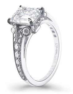 square flat diamond ring with scroll