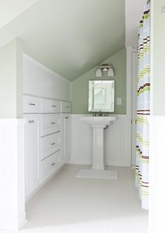 Beth Haley Design - attic bath with storage