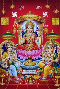 Lakshmi, Saraswati and Ganesha - Hindu Posters (Reprint on Paper - Unframed) Durga Images, Lord Shiva Hd Images, Lakshmi Images, Lord Vishnu Wallpapers, Diwali Photos, Diwali Images, Shiva Hindu, Hindu Deities, Krishna