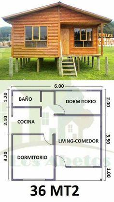 Deptos pequeños #CasasCampo My House Plans, Bedroom House Plans, Cabin Plans, Small House Plans, House Floor Plans, Bamboo House Design, Small House Design, Tiny House Cabin, Home Design Plans