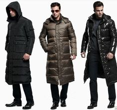 3 Color Mens Full Length Duck Down Hooded Long Puffer Jacket Coat Winter Parka Winter Parka