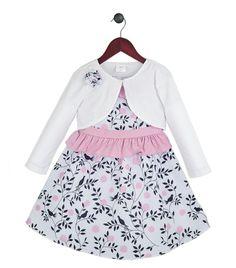 956c87c1db0f7e Love this Pink Bird Ruffle Dress   White Bolero - Toddler   Girls by Joe- Ella on