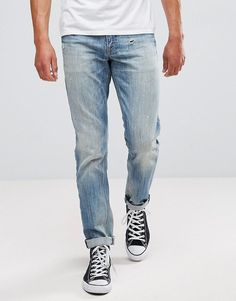 ASOS Stretch Slim Jeans In Mid Wash Vintage With Abrasions - Blue