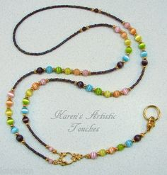 Pastel Rainbow Gold Beaded Lanyard ID Badge Holder Jewelry Accessories, Women Jewelry, Jewelry Design, Beaded Jewelry, Beaded Necklace, Lanyard Necklace, Beaded Lanyards, Eyeglass Holder, Id Badge Holders