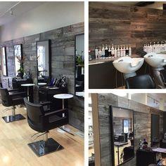 Genial Idea para recubrir las paredes de tu beauty salon- Peel and stick wood panels!