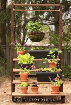 Garden plant stand, Vertical garden diy, Diy plant stand, Plant stand, Plants, Garden shelves - I have not had much luck with vegetable gardening Mostly because I'm lazy and don't end up weeding - #Gardenplant #stand Garden Arbor, Garden Trellis, Garden Plants, Potted Garden, Garden Walls, Air Plants, Vegetable Garden, Planting Bulbs In Spring, Arbors Trellis