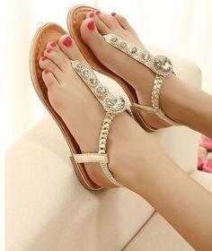 Handmade rhinestones flat sandals