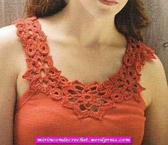 """Inspiration for yokes for summer nighties. """"very cool crochet top (yoke) patterns -so many good ones to choose from. Also links to patterns for motifs, appliques and more! T-shirt Au Crochet, Crochet Fabric, Crochet Collar, Crochet Shirt, Crochet Woman, Irish Crochet, Crochet Flowers, Crochet Designs, Crochet Patterns"""
