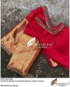 No photo description available. Hand Work Blouse Design, Simple Blouse Designs, Stylish Blouse Design, Fancy Blouse Designs, Bridal Blouse Designs, Blouse Neck Designs, Traditional Blouse Designs, Kerala Saree Blouse Designs, Bollywood Saree