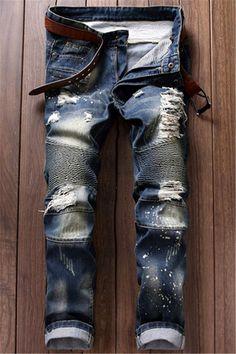 $25.71 Ruched Design Destroy Washed Moto Jeans