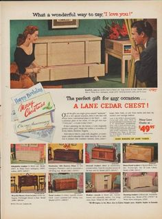 "Description: 1952 THE LANE COMPANY vintage print advertisement ""The perfect gift"" ~ What a wonderful way to say, ""I love you !"" The perfect gift for any occasion . Vintage Soul, Vintage Ads, Vintage Prints, Vintage Houses, Lane Furniture, Retro Furniture, Good Advertisements, Advertising, Retro Graphic Design"