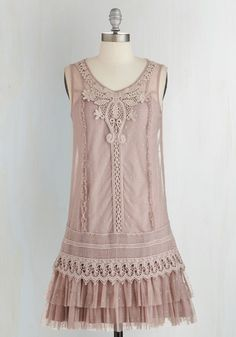 Genuinely Genteel Dress. Dress to impress with the graceful details in this frilly, feminine trapeze dress by Ryu. #pink #modcloth