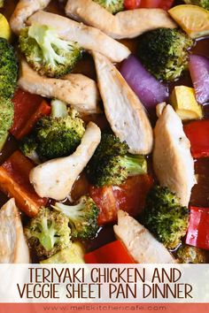 Sheet pan dinners for the win! This teriyaki chicken sheet pan dinner (loaded with veggies!) is not only fast and easy, it is super delicious! Teriyaki Chicken, Chicken Curry, Chicken And Vegetables, Healthy Dinner Recipes, Weeknight Recipes, Fast Recipes, Weeknight Dinners, Easy Dinners, Food Dishes