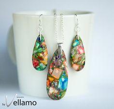 Jewelry set with large pendant mosaic rainbow jasper by byVellamo, $29.00 #etsy #jewelry