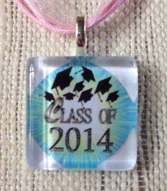 Class Of 2014 Graduation Gift Altered Art Glass Tile Pendant Ribbon Necklace