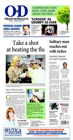 The front page for Thursday, Dec. 6, 2012: Take a shot at beating the flu