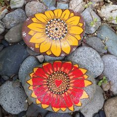 Big Yellow or Red Outdoor Sunflower Rock by InnerSasa on Etsy