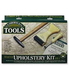 "C.S. Osborne Starter Upholstery Kit:  webbing stretcher, magnetic tack hammer, tack claw, curved and straight upholstery needles, and 3"" upholstery pins."