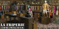 Around the Sims 3   La Friperie, a second-hand clothing retail store I've been meaning to do this store for ages! Noémie, the purple hair cashier you see here, was indeed supposed to work as clerk/cashier in a clothing store, but I didn't want her to...