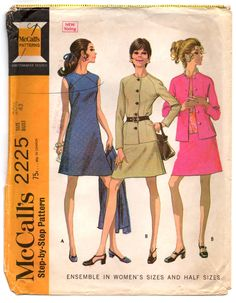"""1960's McCall's One-piece Maxi Dress and Jackets Pattern - Bust 43"""" - UC/FF - No. 2225 by backroomfinds on Etsy"""