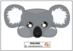 Add some koala play to your day with this free printable koala mask. Your kids will love pretending to be a koala, eating, climbing and sleeping. Australian Party, Australian Animals, Koala Costume, Printable Animal Masks, Colegio Ideas, Bear Mask, Australia Day, Australia Crafts, Hat Crafts