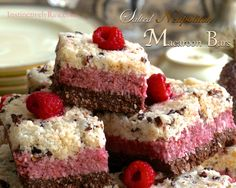 Salted Neapolitan Macaroon Bars - raw vegan - cacao, raspberry and vanilla layers of coconutty goodness