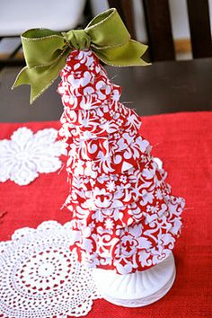 Foam Cone Holiday Tree Tutorial {Fabric Covered} (with links to tutorials for two other kinds of trees!)