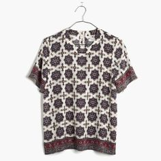 Madewell Silk Refined Tee - Medallion Stamp Great condition silk tee!  Gorgeous pattern Madewell Tops Blouses