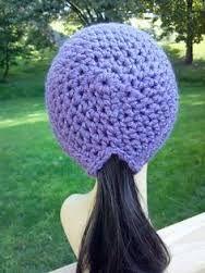 Resultado de imagen para ponytail hat crochet pattern free
