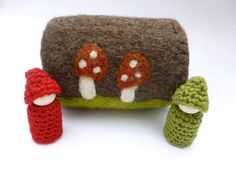 Felted wool log with wood peg dolls log home by greenmountain