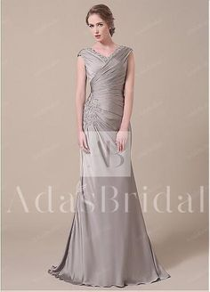 Elegant Satin Chiffon V-neck Neckline Mermaid Mother of The Bride Dresses