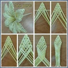 Discover thousands of images about Flores tejidas con palitos de papel. 2 by doreen. Flax Weaving, Straw Weaving, Paper Weaving, Basket Weaving, Straw Crafts, Leaf Crafts, Flower Crafts, Flax Flowers, Paper Flowers