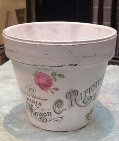 DIY decoupage flower pot with image from Graphics Fairy