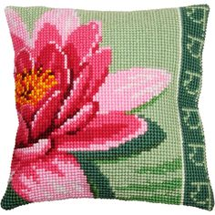 Vervaco® Pink Lotus Flower Pillow Cover Needlepoint Kit