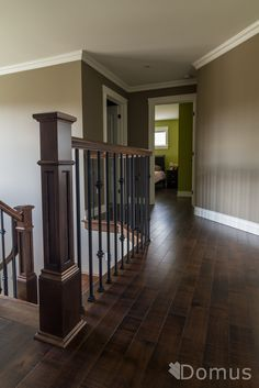 Superb Staircase With RFP Posts, Black Metal Spindles, Shoes And Collars