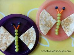 Butterfly quesadilla (wings) grapes, carrot string & olives or blueberry for the body. Fun food meal ideas for toddlers, kids, Autistic and picky eaters. Snack time.  G;)