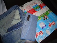 Reciclagem de caixa de leite e jeans usado - Meu lado arteiro