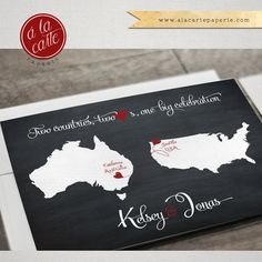 Destination wedding invitation Black Chalkboard Two Countries, Two Hearts Save the Date Postcard bilingual wedding invitation This listing is