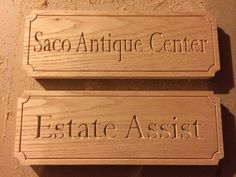 "Custom business sings. ""Saco Antique Center"" make your custom order at designsbypk3.com or find Designs by Pk3 on Etsy!"