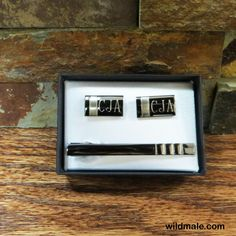 Cuff Links and Tie Clip Personalized Set - Gifts for Men and Groomsmen CUT-15GUN - http://wildmale.com/cuff-links-and-tie-clip-personalized-set-gifts-for-men-and-groomsmen-cut-15gun