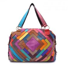 MultiColor Tote Bag  Purse Leather Patchwork Handbag by leatherkoo, $125.00