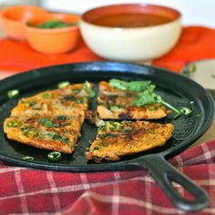 U is for: Uttapam {with brown rice & pumpkin}....going to try a version of this for baby...obviously no chiles