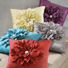 Jeweled Flower Throw Pillow