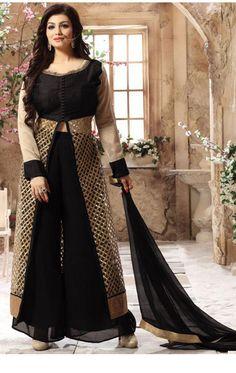 Ayesha Takia Black and Beige Bollywood Palazzo Suit